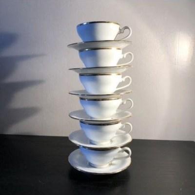 Tasses à café porcelaine blanche vintage
