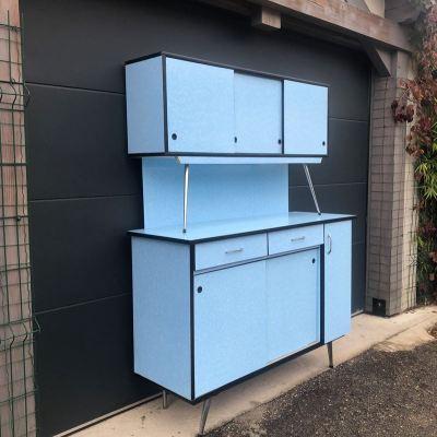 Buffet formica bleu rétro