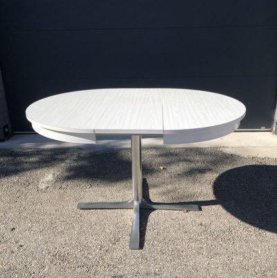 Table ronde vintage pied central inox