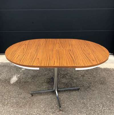 table ronde extensible formica marron