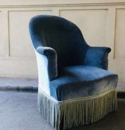 Ancien fauteuil crapaud velours bleu