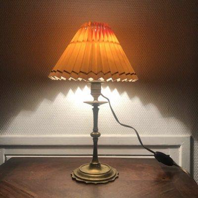 Lampe de chevet pied laiton vintage