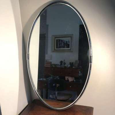Miroir mural ovale métal chromé