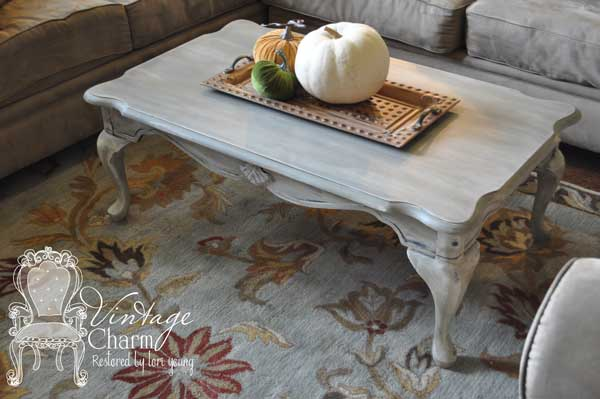 weathered gray coffee table vintage