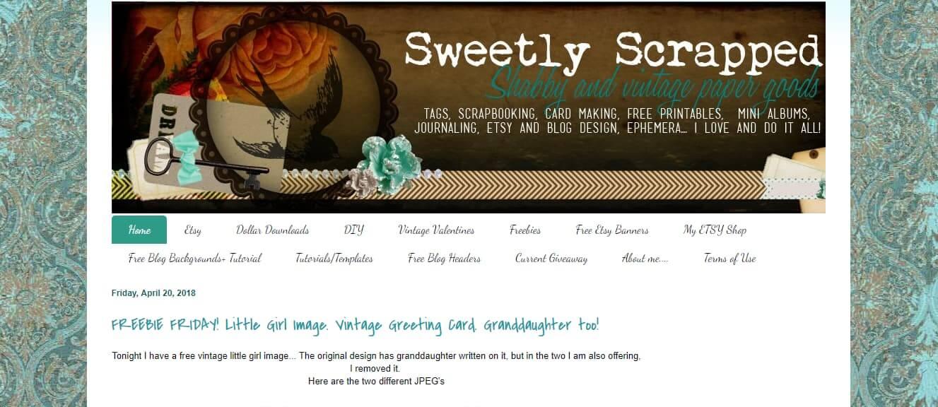 Sweetly Scrapped website screenshot