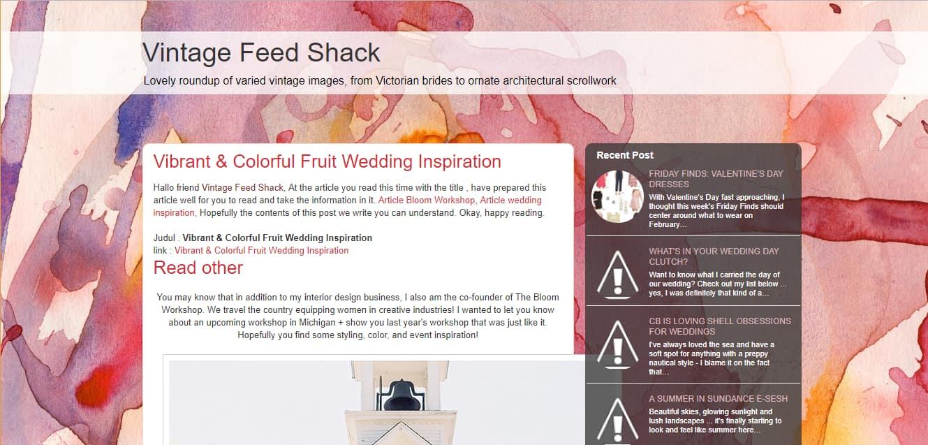 Vintage Feed Shack website screenshot