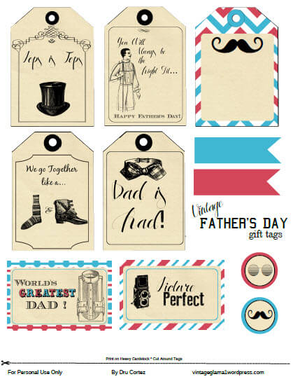 graphic about Free Printable Fathers Day Tags known as No cost Printable Obtain - Fathers Working day Present Tags - Traditional