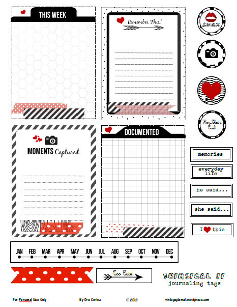 Whimsical Journaling Cards 2| free printable preview
