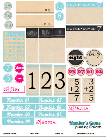 Numbers journaling elements