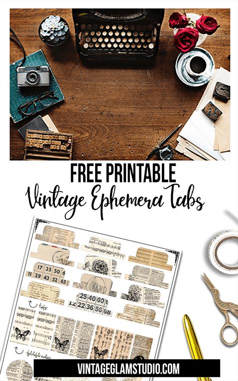 photograph relating to Free Printable Ephemera called Totally free Printable Down load - Classic Ephemera Tabs - Typical