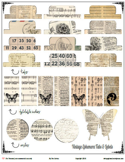 picture regarding Free Printable Ephemera titled Totally free Printable Obtain - Basic Ephemera Tabs - Typical