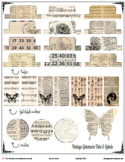 image relating to Free Printable Ephemera referred to as Totally free Printable Obtain - Common Ephemera Tabs - Common