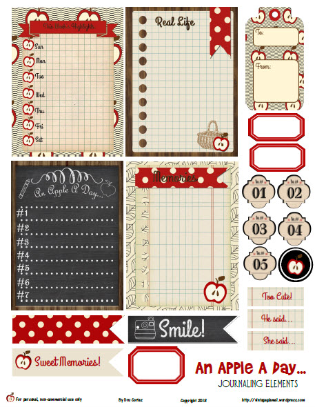 journaling cards and elements