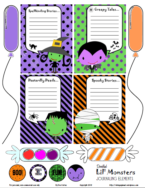 Lil Monsters journaling cards