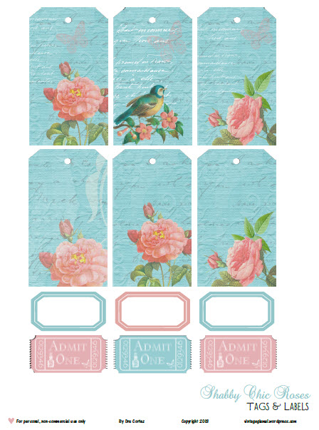 Shabby Chic Roses & Tags | print and cut printable