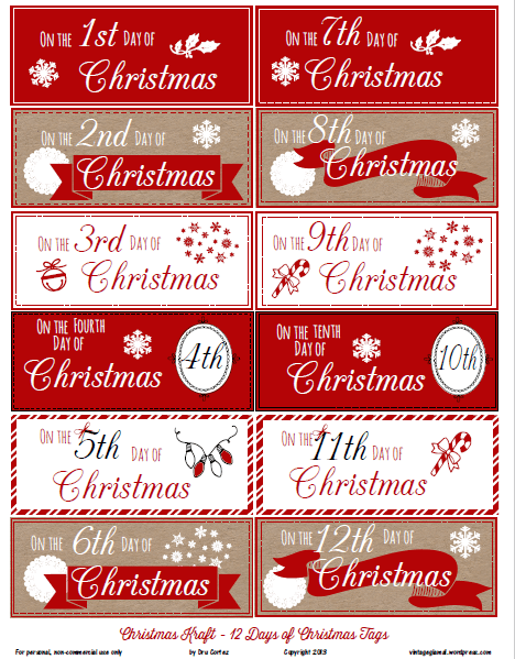image about 12 Days of Christmas Images Printable identify Cost-free Printable Down load - 12 Times of Xmas Reward Tags