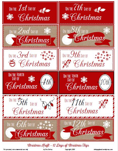 12 Days of Christmas tags printable