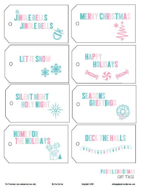 pastel christmas tags printable