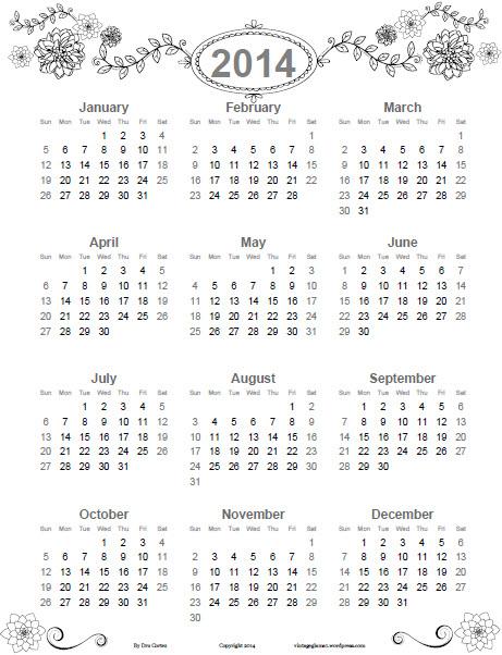 Doodled-Floral-2014-Annual-Calendar