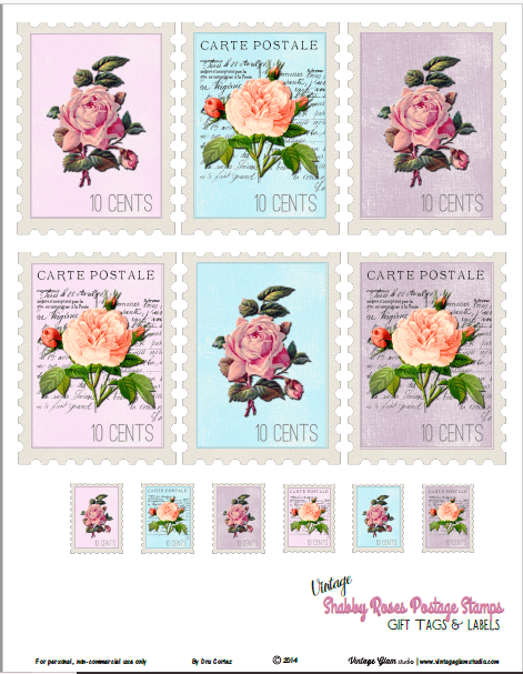 photograph about Stamps Printable known as Common Shabby Roses Postage Stamps - Free of charge Printable
