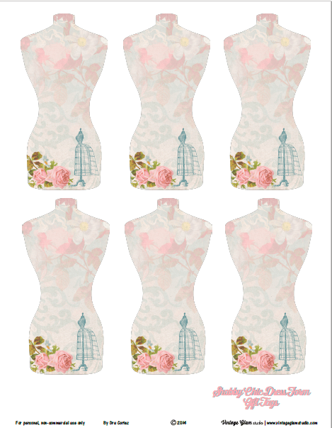 Shabby Chic Dress Form Tags