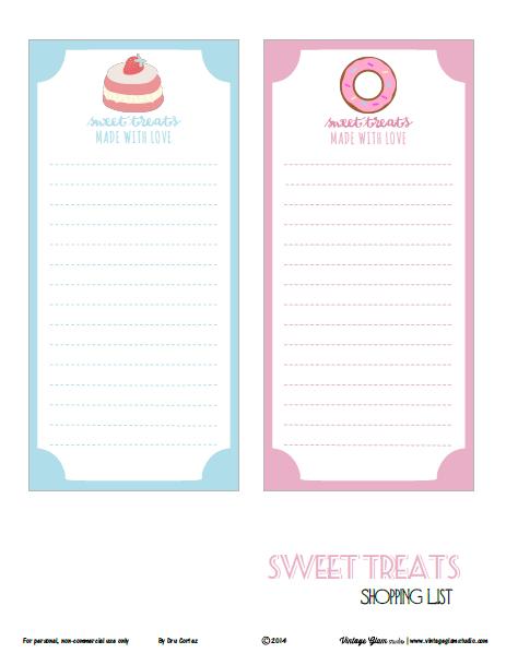 sweet treats shopping lists