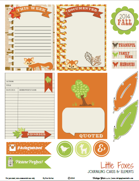 image regarding Free Printable Journaling Cards known as Very little Foxes Journaling Playing cards - Totally free Printable Down load