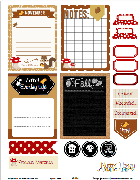 Nuttin Honey Journaling Cards | Free printable, for personal use only