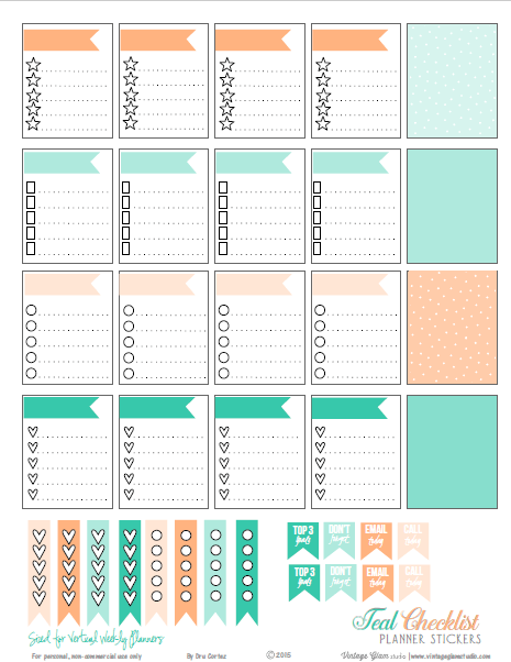 Teal-Peach | Free planner stickers printable, for personal use only