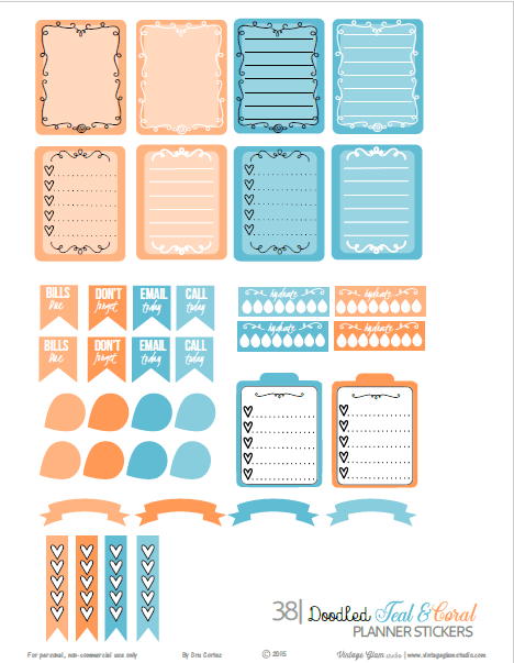 Doodled Teal Coral| planner printable, free for personal use