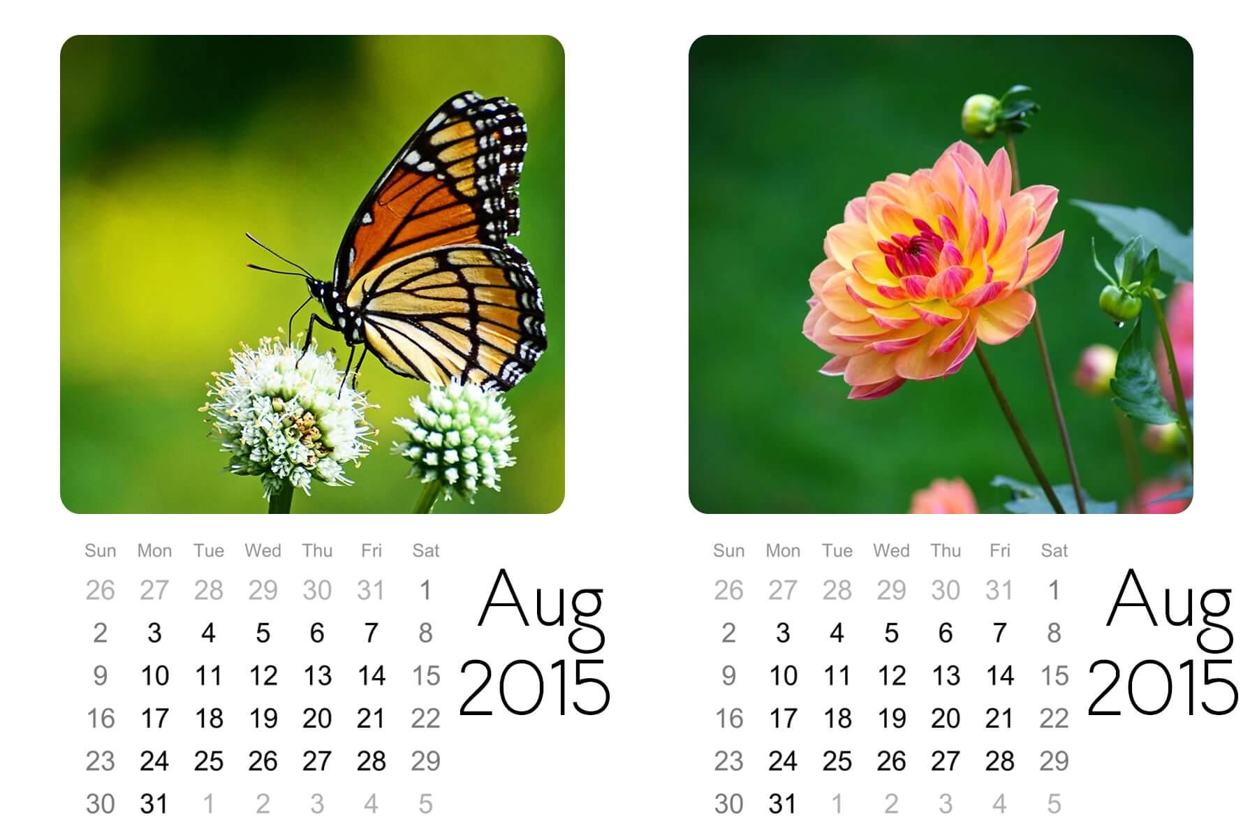 august mini calendar
