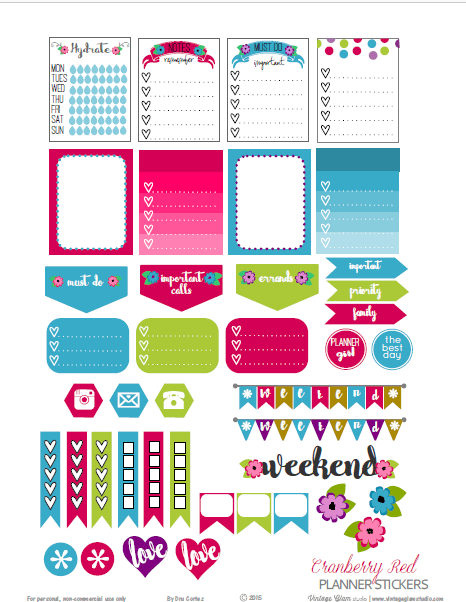 Cranberry Red planner stickers printable