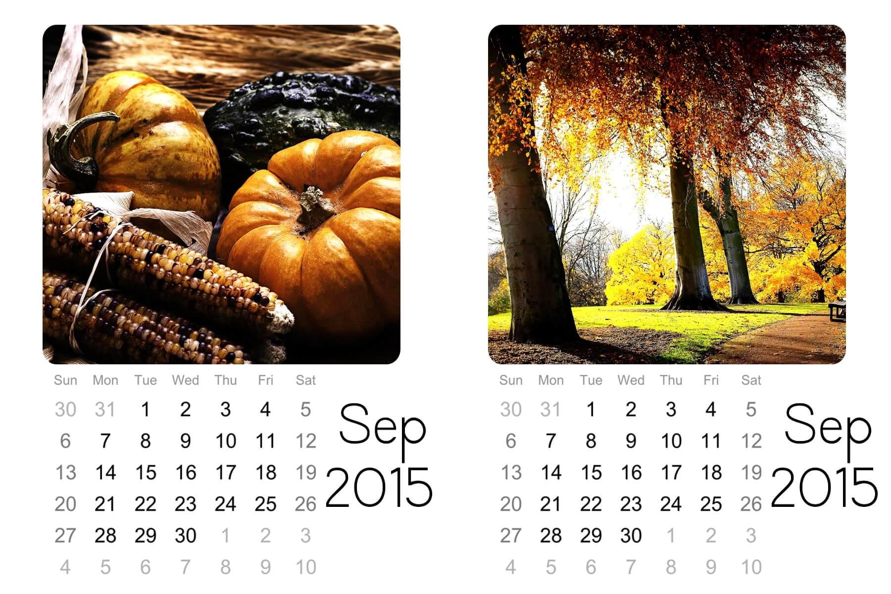 sept mini calendar