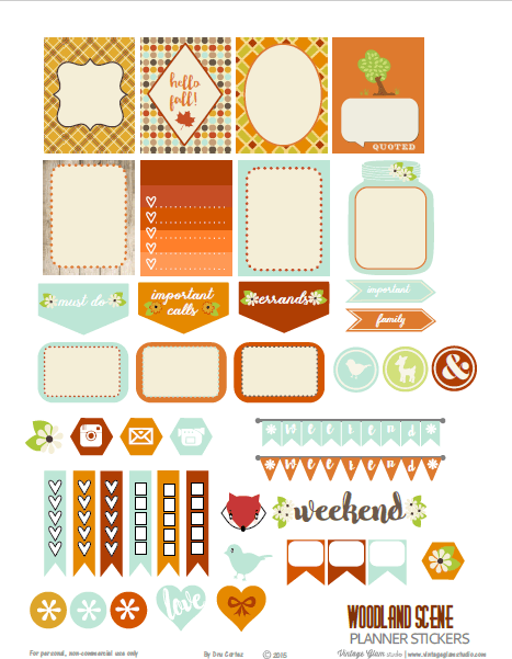 Woodland Scene | planner stickers preview