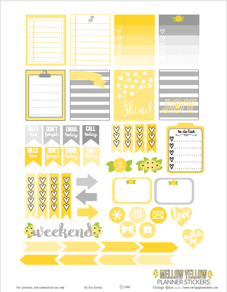 Mellow Yellow | planner stickers preview