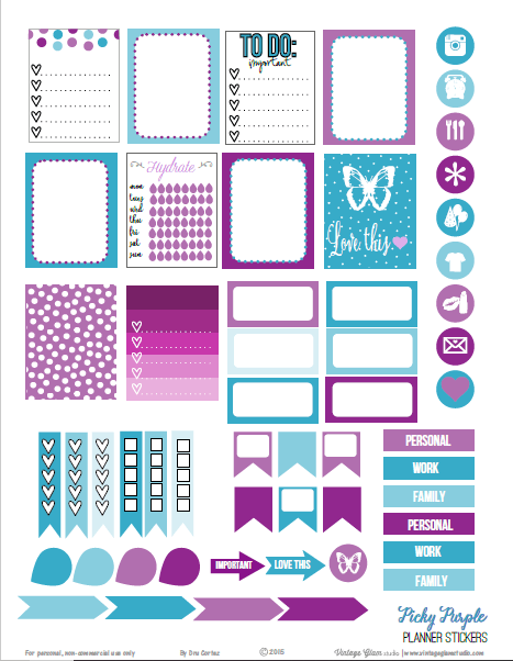 Picky Purple | planner stickers preview