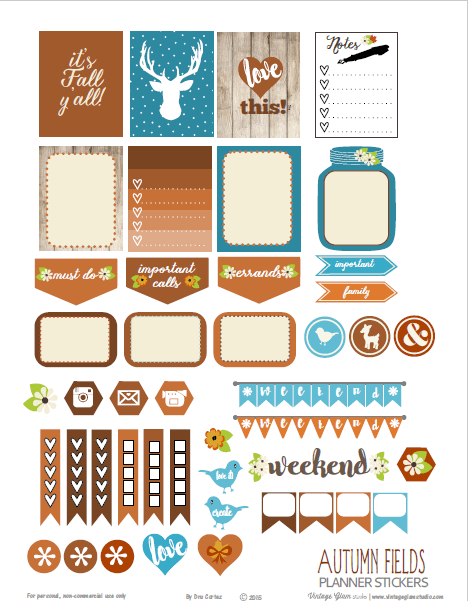 Autumn Fields | planner stickers preview