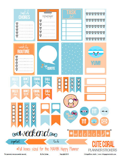 Cute Coral | planner stickers preview