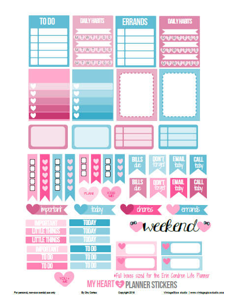 My Heart Planner Stickers | Free printable, for personal use
