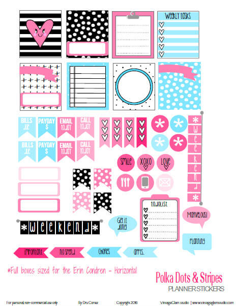Polka Dot Planner Stickers | Preview