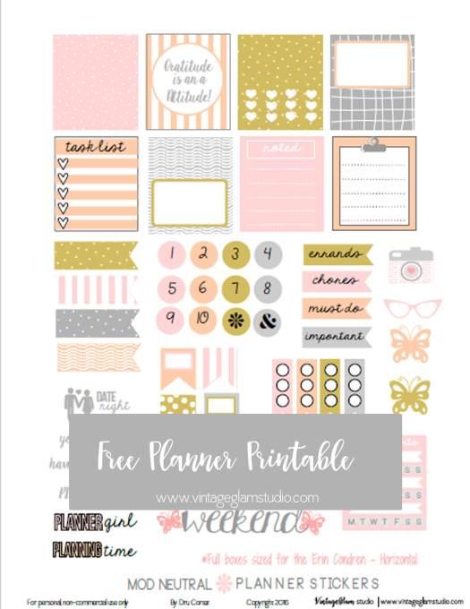 Mod Neutral | Free planner stickers print