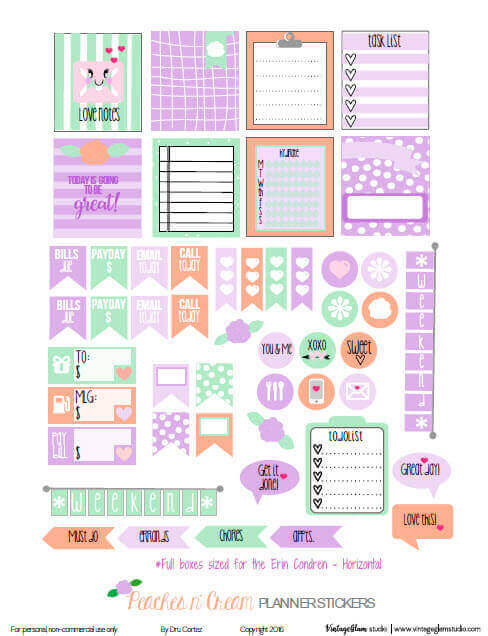 Peaches n' Cream Planner Stickers | Free printable, for personal use only