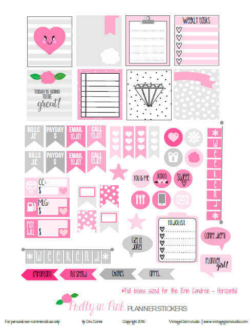 Pretty in Pink | planner stickers preview