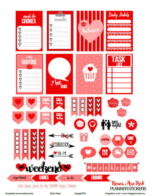 Roses are Red | Free planner stickers printable preview