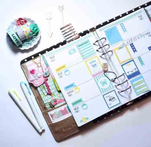 planner stickers layout in Carpe Diem ringbound planner