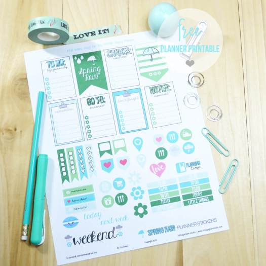 Spring Rain planner stickers print sample