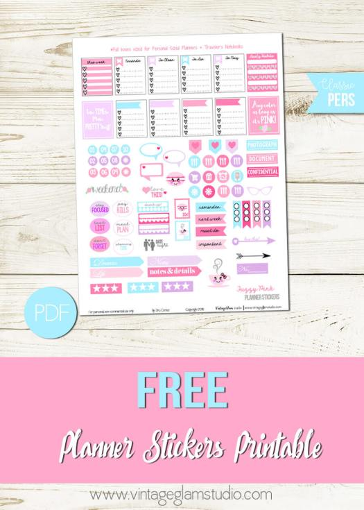 Fuzzy Pink Planner Stickers | Free for personal use only