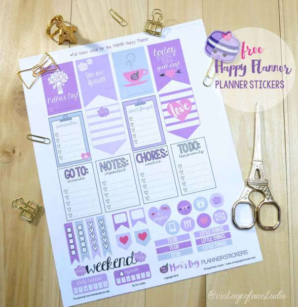 Mom's Day Planner Stickers | Free printable for the Happy Planner