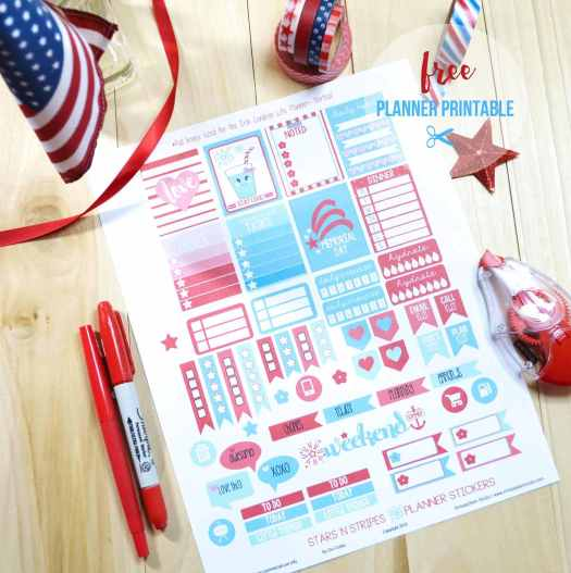 Stars n Stripes planner stickers print sample