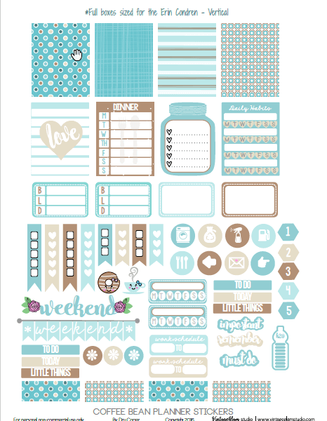 Coffee Bean Planner Stickers printable